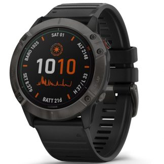 i7 shop - купить Смарт-часы Garmin Fenix 6X Pro Solar Titanium Carbon Gray DLC with Black Band (010-02157-21)