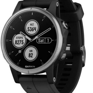 i7 shop - купить Спортивные часы Garmin Fenix 5S Plus Silver with Black Band (010-01987-21)