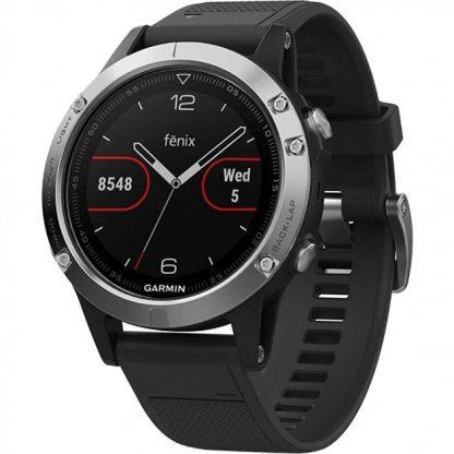 i7 shop - купить Мультиспортивные GPS-часы Garmin Fenix 5 Silver (с датчиком пульса Garmin HRM-Tri)