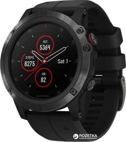 i7 shop - купить Спортивные часы Garmin Fenix 5X Plus Sapphire Black with Black Band (010-01989-01)