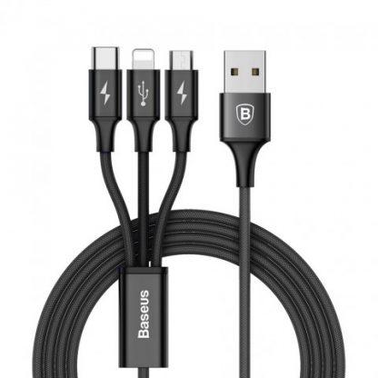 i7 shop - купить Кабель Baseus Rapid Series 3-in-1 Cable Micro-USB + Lightning +Type-C