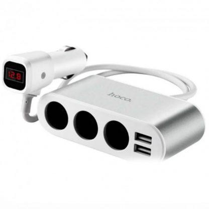 i7 shop - купить Зарядное устройство автомобильное Hoco Z13 LCD + 2USB Silver/White